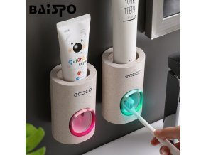BAISPO Automatic Toothpaste Dispenser Dust proof Toothbrush Holder Wall Mount Stand Bathroom Accessories Set Toothpaste Squeezer 1
