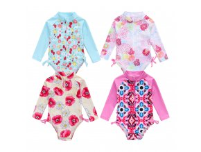 2019 New Summer Toddler Infant Baby Girl Swimsuit Cute Long Sleeve One piece Floral Swimwear Swimming 1