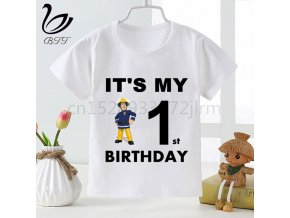 Birthday Tshirt Fireman Sam Kids Birthday Gift T shirt Children Cartoon Bing Rabbit Bunny Funny Printing 1