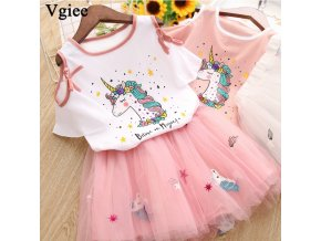 Vgiee Unicorn Girls Dress 2pc Clothes Set Baby Toddler Outfits Summer T Shirt Children Kid Dresses 1