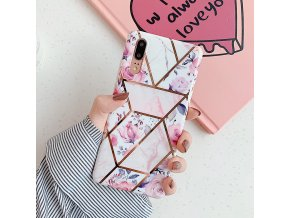 18 LOVECOM Plating Geometric Marble Phone Case For Huawei P40 Pro P30 P20 Lite Pro Mate 30