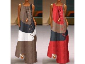 ZANZEA dámské letní patchwork dlouhé maxi šaty