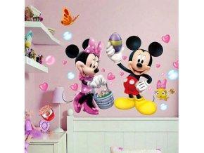 Roztomilá samolepka Mickey Mouse a Minnie se srdíčky
