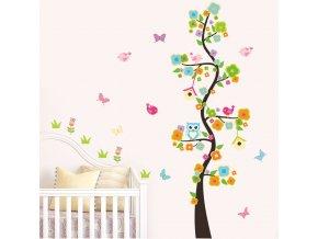 Samolepka do dětského pokoje strom se sovičkou a zvířátky