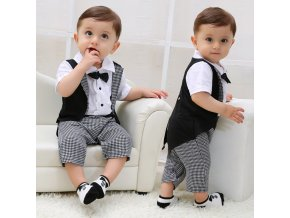1 Toddler Baby Boys Gentleman Bowtie Plaid Swallowtail Romper Jumpsuit Outfits Long Sleeve Romper Jumpsuit Outfits Party