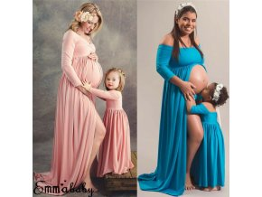 1 Family Matching Clothes Maxi Gown Maternity Photography Props Pregnancy Dress Maternity Dresses For Mother and Daughter (1)