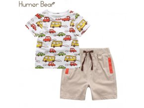 10 Humor Bear Boys Clothing Set Baby Boy Clothes New Summer Kids Clothing Sets Stripe Colorful T