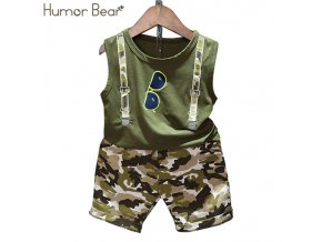 6 Humor Bear Boys Clothing Set Baby Boy Clothes New Summer Kids Clothing Sets Stripe Colorful T