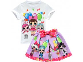 6 New LOL Surprise Dolls Cute Cartoon Printing Children s Girls Skirt Suit T shirt Short Sleeve