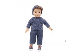 4 Doll Clothes 3Pcs Set Hat Sweater Jeans For 18 Inch American 43 Cm Born Logan Boy