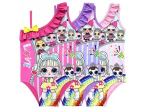 1 2019 New LOL Surprise Dolls Children s Shoulder Swimsuit Girls One piece Swimsuit Strap Cartoon Character (1)