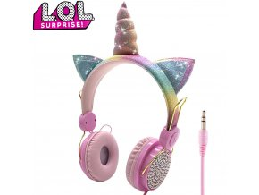 1 LOL dolls surprise Cute Unicorn Wired Headphone With Microphone Music Stereo Earphone Computer Mobile Phone Headset