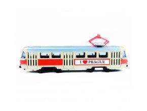 Kovová česká retro tramvaj, 16 cm Praha