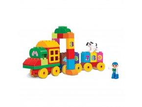 Dětská stavebnice Blocks kostky vlak s čísly, 63 ks