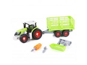 Dětský šroubovací traktor s vlečkou a lžící