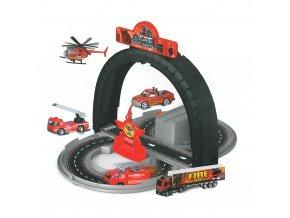 Dětská rozložitelná dráha hasiči s kovovými auty