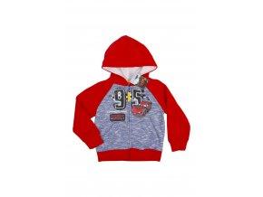 727811 3 cars cervena mikina na zip s kapuci pro kluky