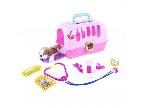 Dětský přenosný domeček veterinář s plyšákem
