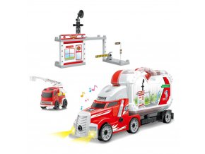 Dětské hasičské šroubovací auto s kufrem a stanicí, se zvukem a světlem