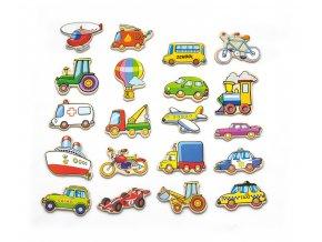 Dřevěné magnety 20 ks - Dopravní prostředky