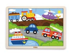 Dětské dřevěné puzzle 16 dílků - doprava