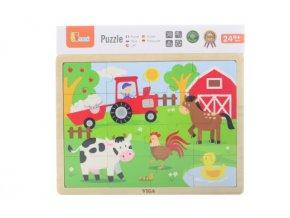 Dětské dřevěné puzzle 16 dílků - farma
