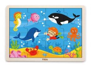 Dětské dřevěné puzzle 16 dílků - oceán