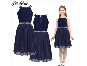 1 6 14T Teen Girls Sleeveless Sequined Floral Lace Shiny Dress Vestido de festa for Weeding Formal (1)
