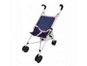 Golfový kočárek pro panenky, modro-růžový s puntíky
