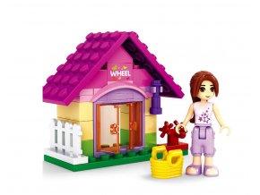 Stavebnice AUSINI dívčí svět v sáčku - zahradní domek, 44 dílů