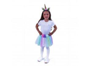 Dívčí kostým Jednorožec TUTU sukně a čelenka