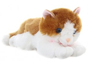 Plyšová kočka zrzavo-bílá, 30 cm