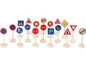 Dětské dřevěné dopravní značky velké, 18 ks