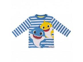 Baby Shark klučičí pruhované tričko, modré