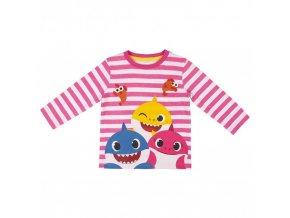 Baby Shark holčičí pruhované tričko, růžové