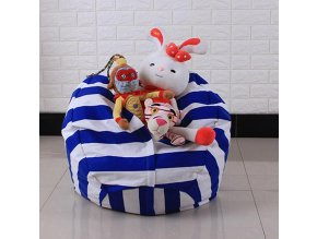 Bag toy storage organizer Kids Stuffed Animal Plush Toy Storage Bean Bag Soft Pouch Stripe Fabric B