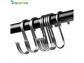 Powerful Stainless Steel S Shaped Hanger Hook Kitchen Bathroom Clothing Hanger Hooks Railing Clasp Holder Hooks 1