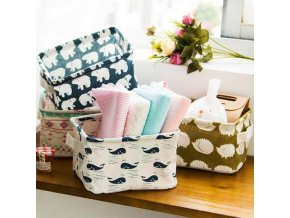 Cute Printing Cotton Linen Desktop Storage Organizer Case Sundries Storage Box Holder Cabinet Underwear Foldable Storage 49
