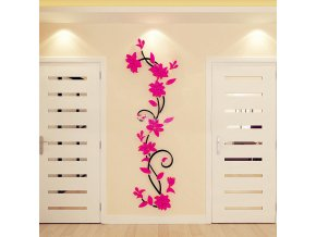 Flower Vine Wall stickers home decor large paper flowers living room bedroom wall decor sticker on hot pink