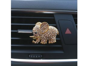 Hazy beauty High grade diamond crystal elephant car perfume clip lady car styling air outlet accessories Gold