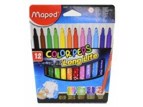 Dětské fixy Maped Color Peps - Long Life, 12 barev