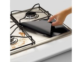 4Pcs set Black Reusable Foil Gas Hob Range Stovetop Burner Protector Liner Cover For Cleaning 31