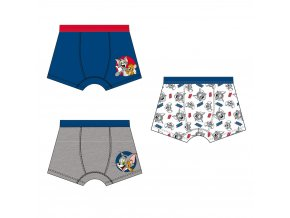 Tom & Jerry chlapecké RETRO boxerky modrá + šedá + bílá, 3 ks