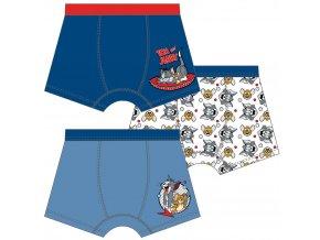 Tom & Jerry chlapecké RETRO boxerky modrá + bílá, 3 ks