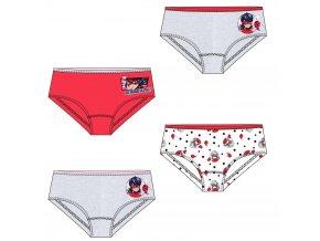MIRACULOUS LADYBUG Kouzelná beruška dívčí kalhotky, sada 4 ks (bílá, šedá, červená)