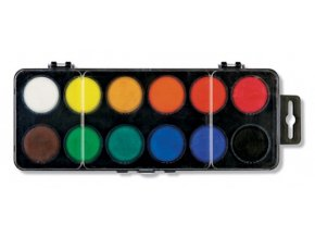 Vodové barvy malé, 12 barev, 22,5 mm