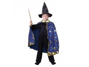 Dětský kouzelnický kostým s modrým pláštěm
