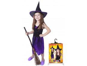Dětský kostým čarodějnice,  fialová s kloboukem