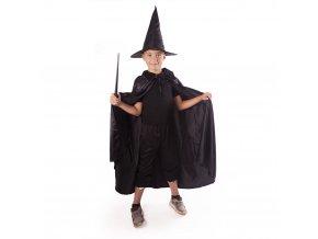 Dětský černý plášť Čaroděj/Čarodějnice s kloboukem
