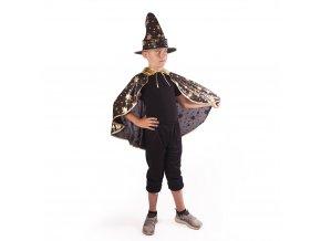 Dětský černo-zlatý plášť Čaroděj/Čarodějnice s kloboukem